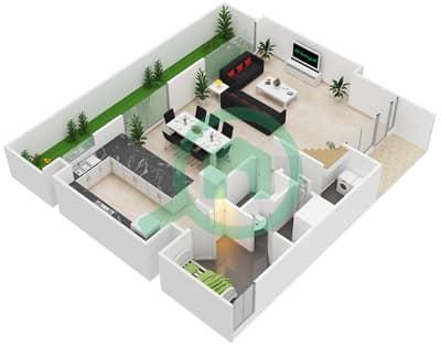 المخططات الطابقية لتصميم النموذج / الوحدة D/20-21 تاون هاوس 3 غرف نوم - بارك ريدج