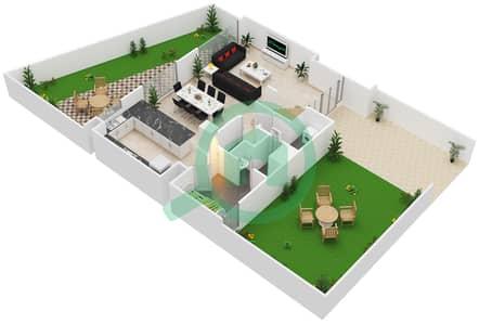 المخططات الطابقية لتصميم النموذج / الوحدة C/16-19 تاون هاوس 3 غرف نوم - بارك ريدج