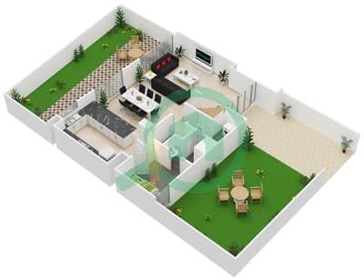 المخططات الطابقية لتصميم النموذج / الوحدة B/7-15 تاون هاوس 3 غرف نوم - بارك ريدج