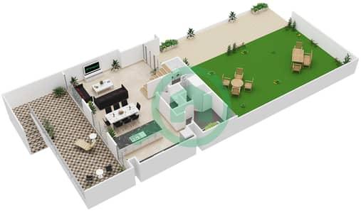 المخططات الطابقية لتصميم النموذج / الوحدة A/1-6 تاون هاوس 3 غرف نوم - بارك ريدج