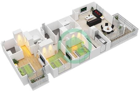 المخططات الطابقية لتصميم النموذج / الوحدة 3B/17-18 شقة 3 غرف نوم - بارك ريدج