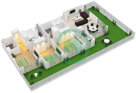 المخططات الطابقية لتصميم النموذج / الوحدة 3A/14-15 شقة 3 غرف نوم - بارك ريدج