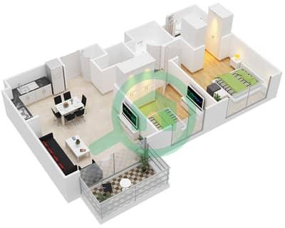 المخططات الطابقية لتصميم النموذج / الوحدة 2C/7-10,14-16,19-20 شقة 2 غرفة نوم - بارك ريدج