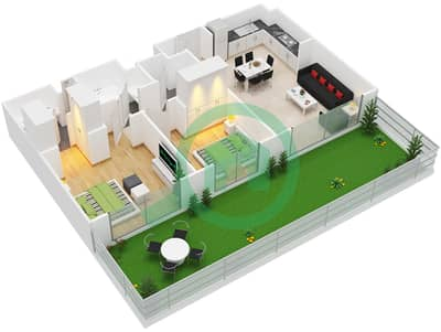 المخططات الطابقية لتصميم النموذج / الوحدة 2A/6-8,11-13,16-17 شقة 2 غرفة نوم - بارك ريدج