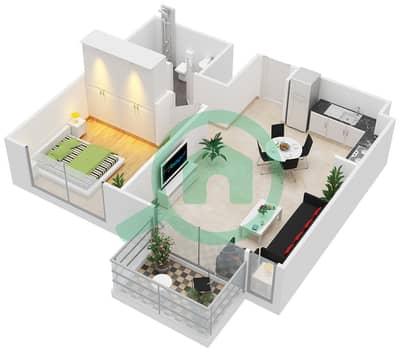 المخططات الطابقية لتصميم النموذج / الوحدة 1D/1-2,5,11 شقة 1 غرفة نوم - بارك ريدج