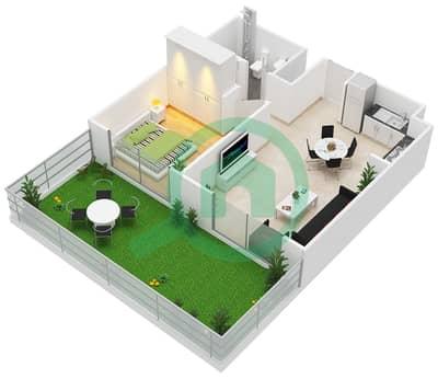 المخططات الطابقية لتصميم النموذج / الوحدة 1A,1B/1-5,9-10,18 شقة 1 غرفة نوم - بارك ريدج