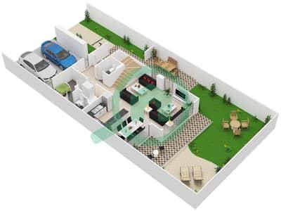 المخططات الطابقية لتصميم النموذج 3 تاون هاوس 3 غرف نوم - كلوب فيلاز