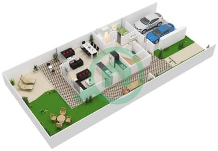 المخططات الطابقية لتصميم النموذج 2 تاون هاوس 3 غرف نوم - كلوب فيلاز