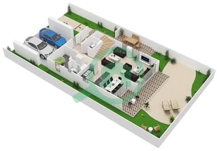 المخططات الطابقية لتصميم النموذج 1 تاون هاوس 3 غرف نوم - كلوب فيلاز
