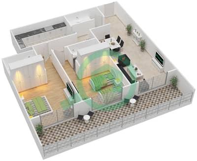 المخططات الطابقية لتصميم النموذج D شقة 2 غرفة نوم - برج كليوبترا