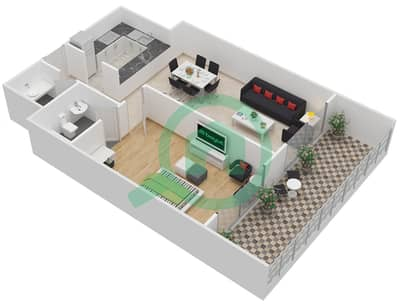 المخططات الطابقية لتصميم النموذج C1 شقة 1 غرفة نوم - برج كليوبترا