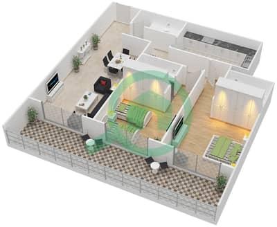 المخططات الطابقية لتصميم النموذج A شقة 2 غرفة نوم - برج كليوبترا