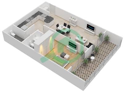 المخططات الطابقية لتصميم النموذج B شقة 1 غرفة نوم - برج كليوبترا