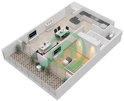 المخططات الطابقية لتصميم النموذج A شقة 1 غرفة نوم - برج كليوبترا