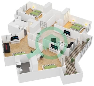 المخططات الطابقية لتصميم النموذج A فیلا 4 غرف نوم - فلل الواحة