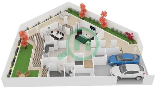 المخططات الطابقية لتصميم النموذج B فیلا 3 غرف نوم - فلل الواحة