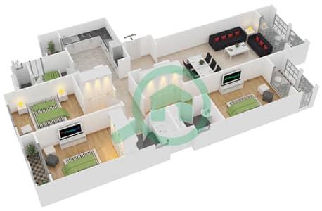 المخططات الطابقية لتصميم النموذج 2 شقة 3 غرف نوم - ليان