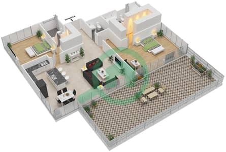 Ashjar - 2 Bedroom Apartment Type CUBE-C Floor plan