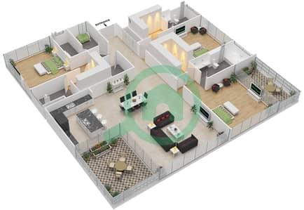 Ashjar - 3 Bedroom Apartment Type CUBE-F Floor plan