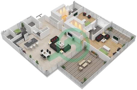 Ashjar - 2 Bedroom Apartment Type CUBE-B Floor plan