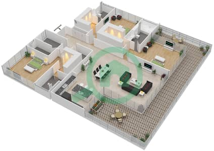 Ashjar - 3 Bedroom Apartment Type CUBE-E Floor plan