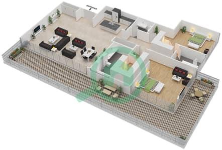 Ashjar - 2 Bedroom Apartment Type CUBE-A Floor plan