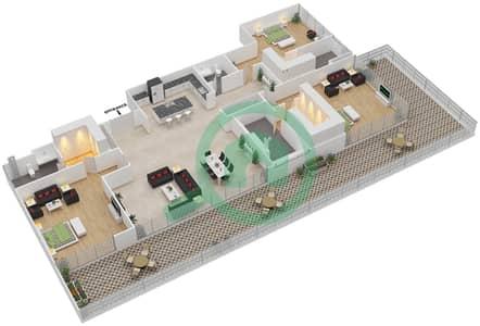 Ashjar - 3 Bedroom Apartment Type CUBE-D Floor plan