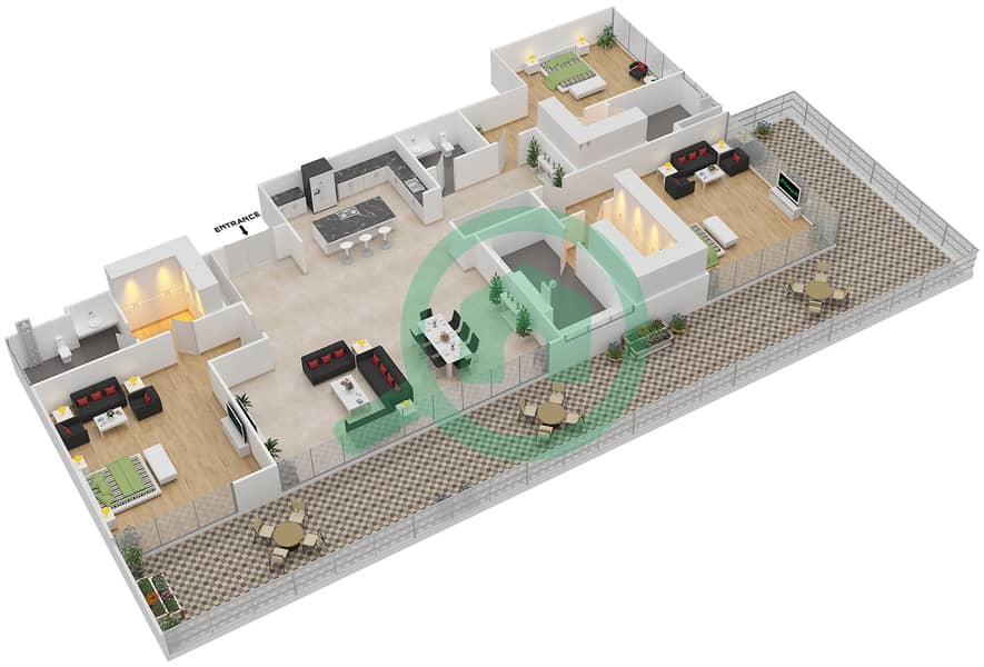 Ashjar - 3 Bedroom Apartment Type CUBE-D Floor plan image3D