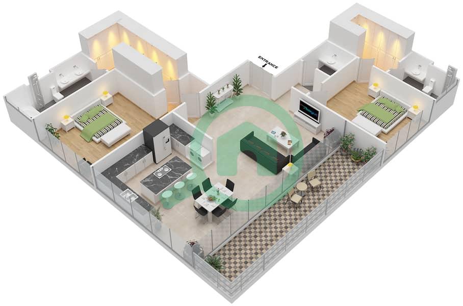 Ashjar - 2 Bedroom Apartment Type INTROVERT-F Floor plan image3D