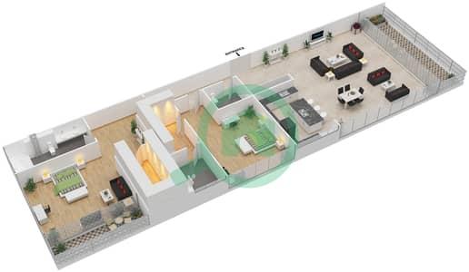 Ashjar - 2 Bedroom Apartment Type INTROVERT-E Floor plan