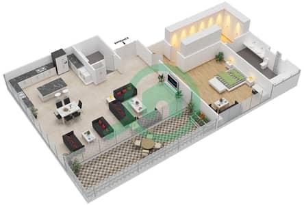 Ashjar - 1 Bedroom Apartment Type INTROVERT-B Floor plan