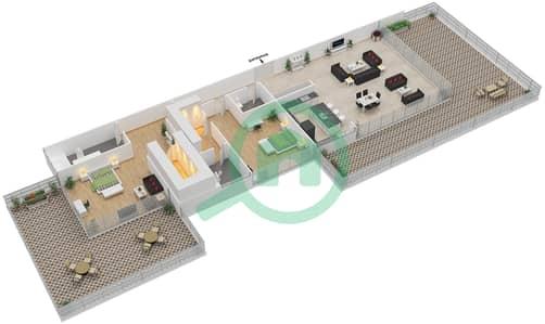 Ashjar - 2 Bedroom Apartment Type INTROVERT-D Floor plan