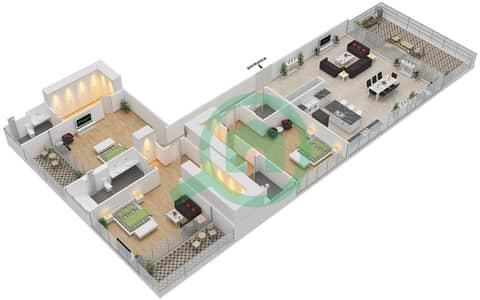 Ashjar - 3 Bedroom Apartment Type INTROVERT-H Floor plan