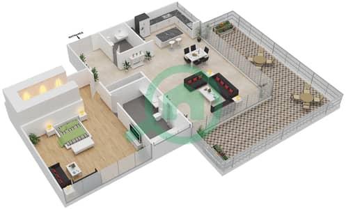 Ashjar - 1 Bedroom Apartment Type INTROVERT-A Floor plan