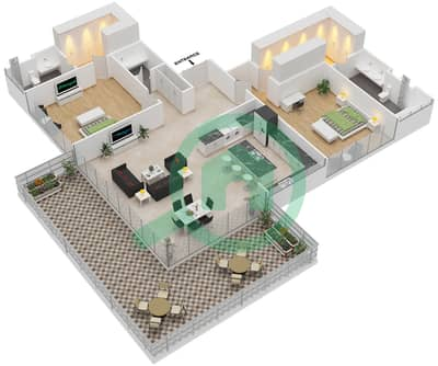 Ashjar - 2 Bedroom Apartment Type INTROVERT-C Floor plan