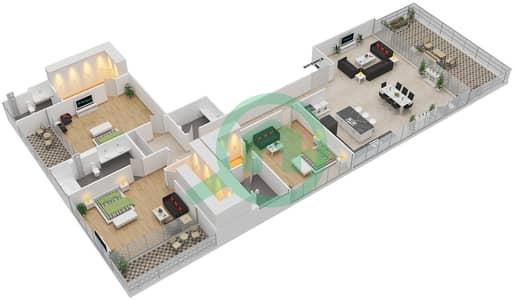 Ashjar - 3 Bedroom Apartment Type INTROVERT-G Floor plan