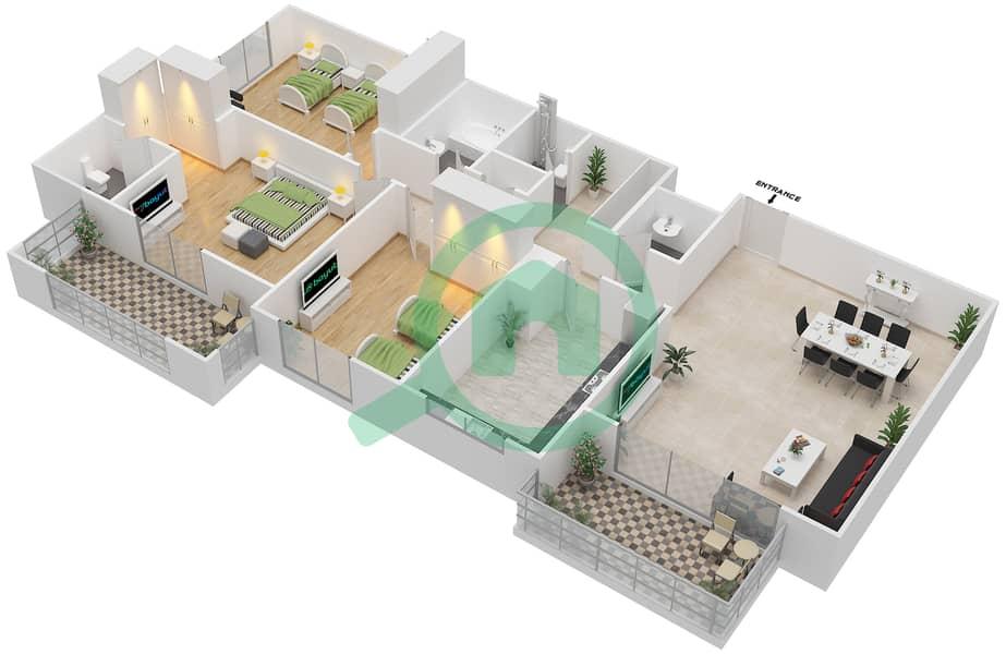 Azizi Daisy - 3 Bedroom Apartment Type/unit 2C/12 Floor plan image3D