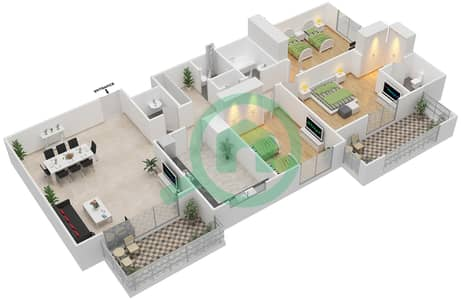 Azizi Daisy - 3 Bedroom Apartment Type/unit 1C/8 Floor plan