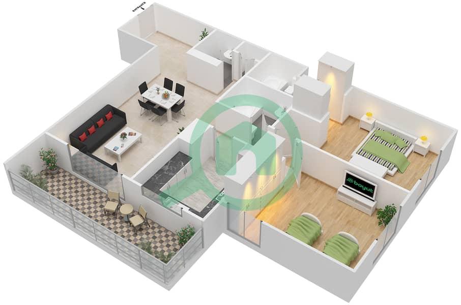 المخططات الطابقية لتصميم النموذج / الوحدة 8B/13 شقة 2 غرفة نوم - عزيزي ديزي image3D