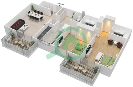Azizi Daisy - 2 Bedroom Apartment Type/unit 7B/9 Floor plan