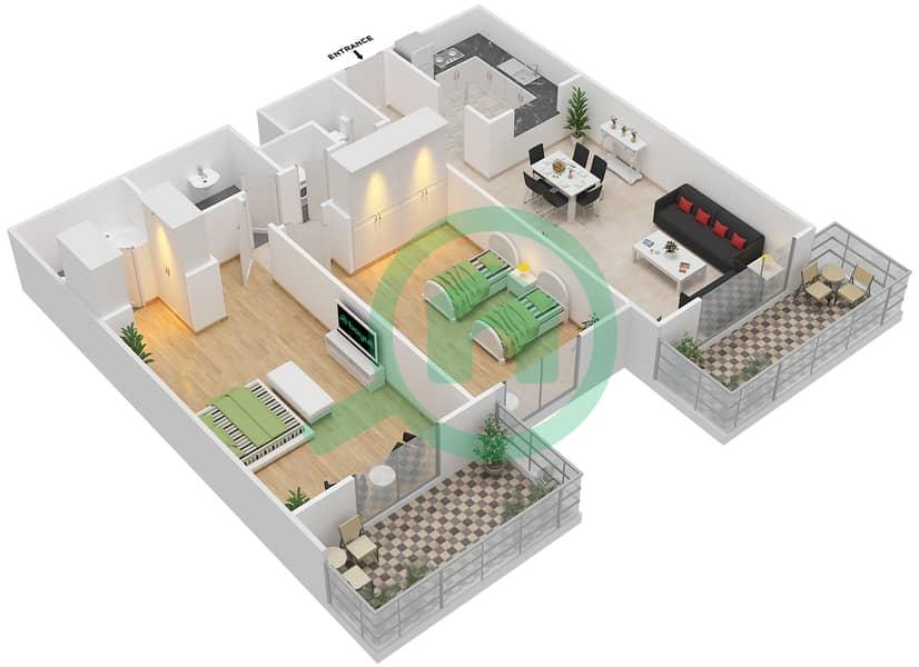 المخططات الطابقية لتصميم النموذج / الوحدة 6B/7 شقة 2 غرفة نوم - عزيزي ديزي image3D