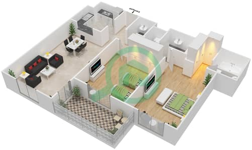 Azizi Daisy - 2 Bedroom Apartment Type/unit 5B/6 Floor plan