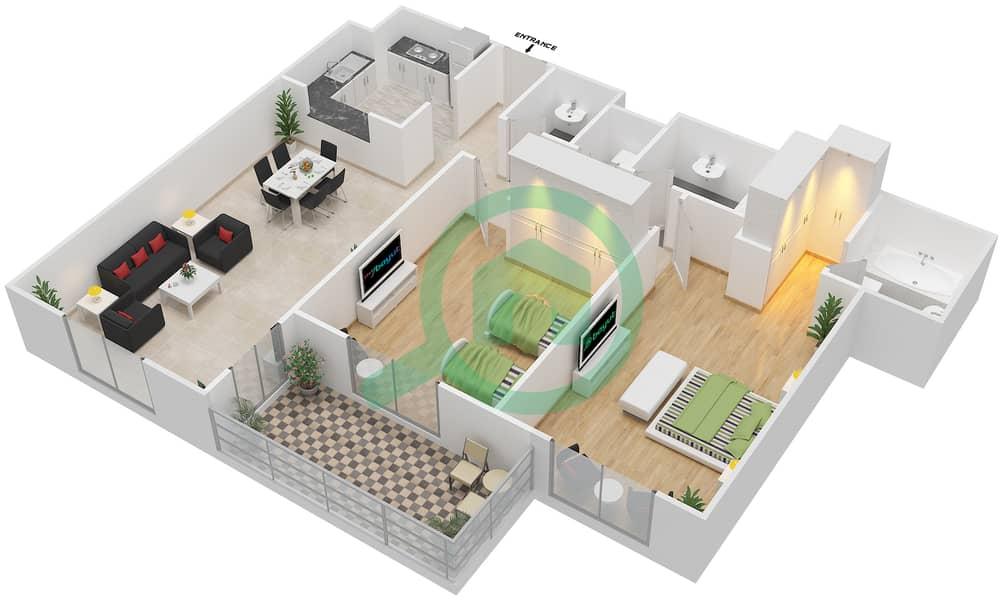 المخططات الطابقية لتصميم النموذج / الوحدة 5B/6 شقة 2 غرفة نوم - عزيزي ديزي image3D