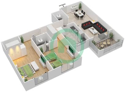 Azizi Daisy - 2 Bedroom Apartment Type/unit 4B/4 Floor plan