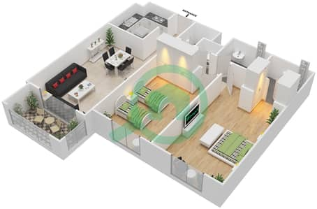 Azizi Daisy - 2 Bedroom Apartment Type/unit 3B/3 Floor plan