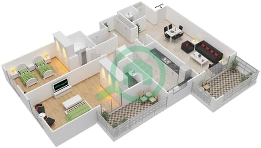 Azizi Daisy - 2 Bedroom Apartment Type/unit 1B/1 Floor plan