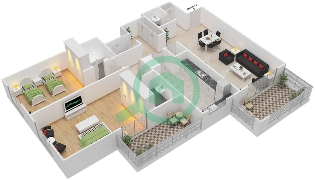 المخططات الطابقية لتصميم النموذج / الوحدة 1B/1 شقة 2 غرفة نوم - عزيزي ديزي image3D