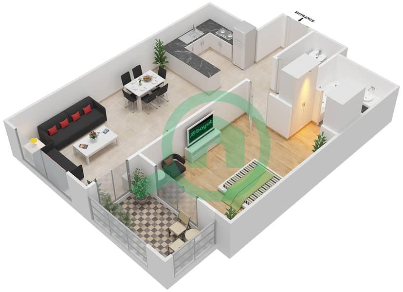 Azizi Daisy - 1 Bedroom Apartment Type/unit 3A/11 Floor plan image3D