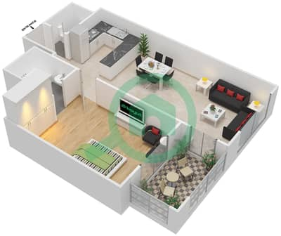 Azizi Daisy - 1 Bedroom Apartment Type/unit 2A/10 Floor plan
