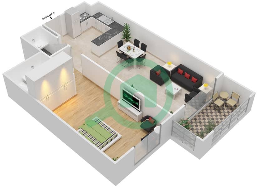 المخططات الطابقية لتصميم النموذج / الوحدة 1A/5 شقة 1 غرفة نوم - عزيزي ديزي image3D
